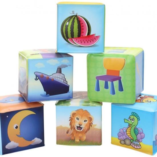 Cuburi burete moale bebelusi Set 6 cuburi animale fructe