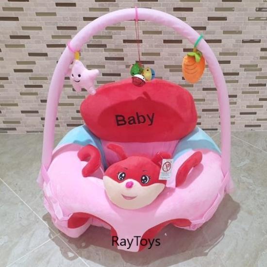 Fotoliu cu arcada si jucarii bebelusi Animalutul Baby roz