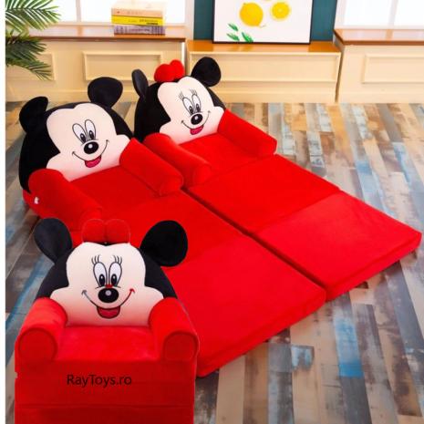 Fotoliu extensibil Canapea Minnie si Mickey Mouse cu 3 parti