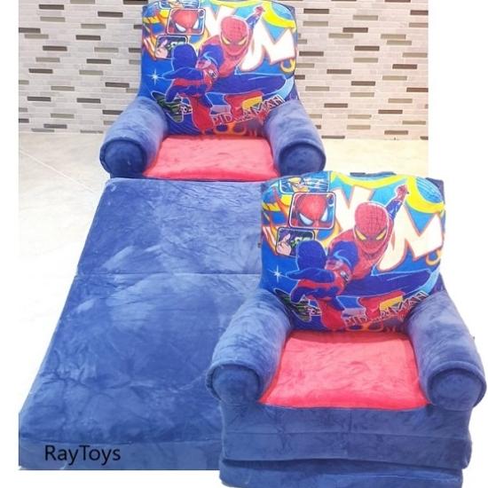 Fotoliu extensibil Spiderman albastru din plus triplu 115 cm