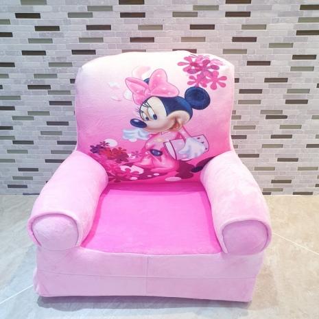 Fotoliu extensibil plus Minnie Mouse roz pentru copii