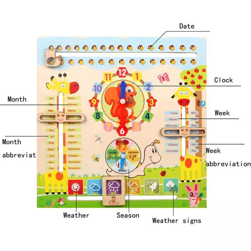 Jucarie educativa Ceas si Calendar din lemn Montessori
