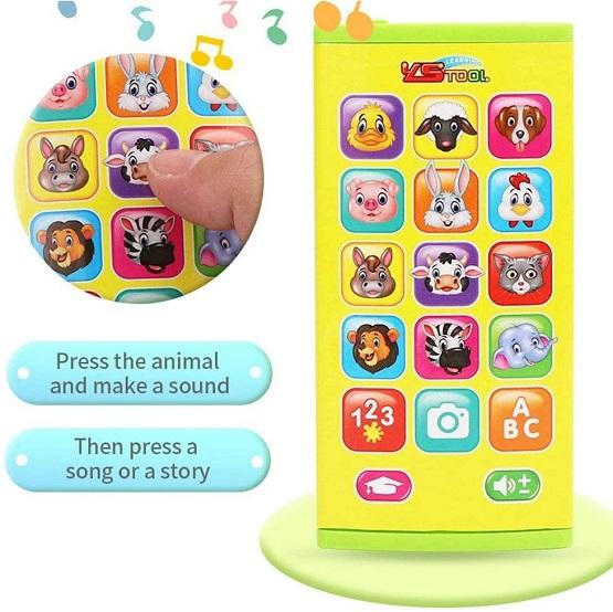 Jucarie telefon mobil Smartphone muzical cu animale bebe