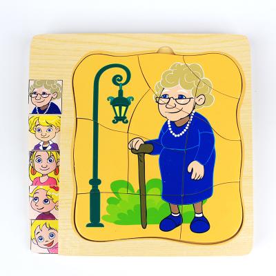 Puzzle in straturi Ciclul vietii Bunicul si Bunica din lemn