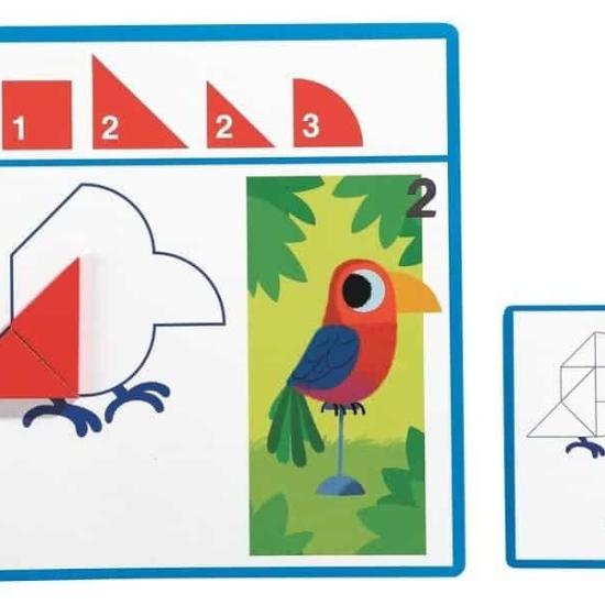 Tangram Joc forme geometrice lemn Eduludo Djeco