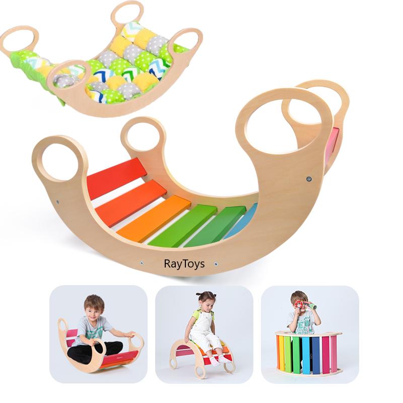 Balansoar din lemn Curcubeu Multifunctional Rainbow