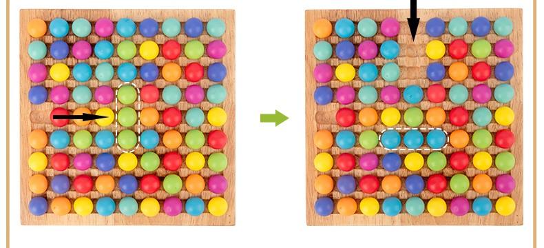 Joc Montessori Tablita cu bile colorate Rainbow color