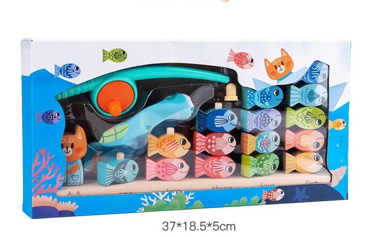Joc educativ pescuit magnetic din lemn Montessori Pisica