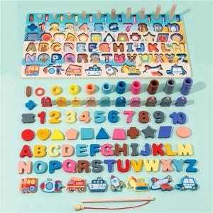 Joc lemn 5in1 Logaritmic Stivuire Litere Cifre Pescuit Forme