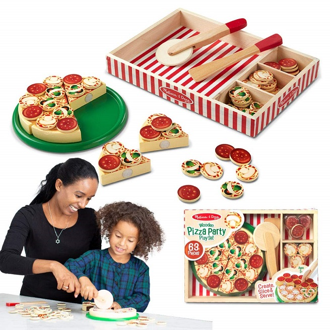 Jucarie Set feliere pizza din lemn Pizza Party Melissa doug