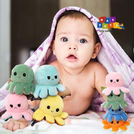 Jucarie plus Caracatita umpluta reversibila cu 2 fete Mood Octopus
