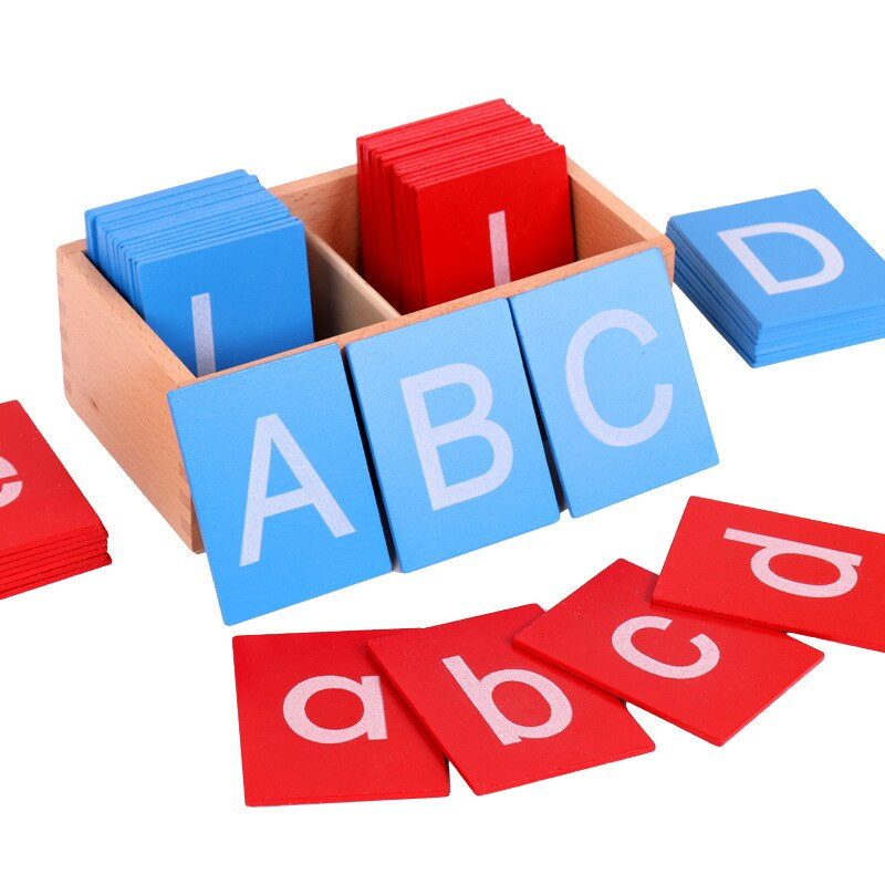 Litere latine Montessori cu majuscule si minuscule lemn