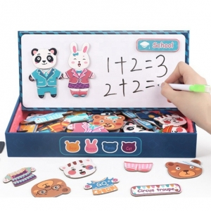 Puzzle din lemn cu magnet si tablita cu marker Imbraca Familia
