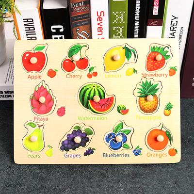Puzzle incastru Fructe in engleza cu butoni din lemn