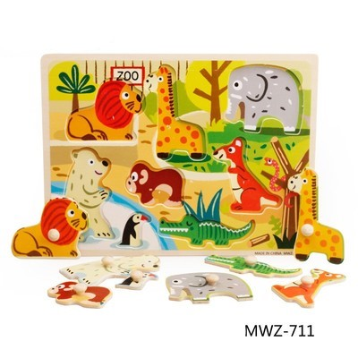 Puzzle incastru MWZ711 Animale domestice din lemn cu butoni