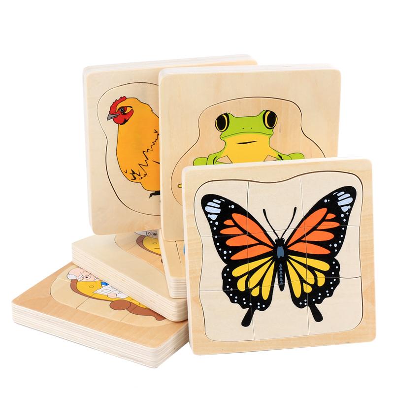 Puzzle lemn Montessori Ciclul vietii in straturi Vietati