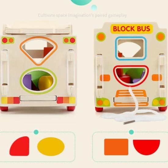 Autobuzul de construit cu roti si forme geometrice din lemn