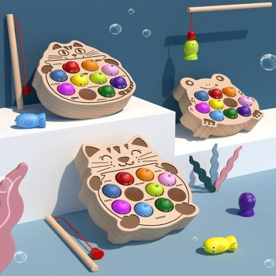 Joc de pescuit magnetic Pisicuta cu pestisori din lemn
