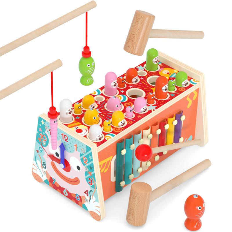 Joc pescuit magnetic Centru de activitati din lemn Clown