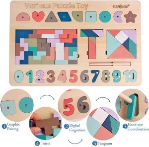 Puzzle cu magnet si Tangram cu forme geometrice T