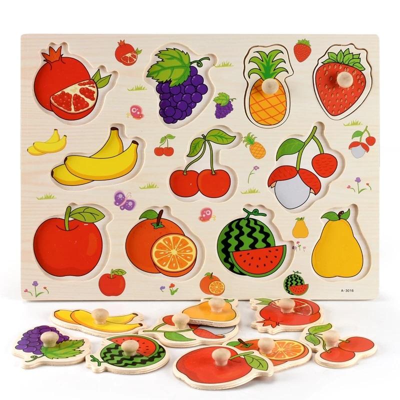 Puzzle incastru Fructe Rodie cu butoni din lemn 3016