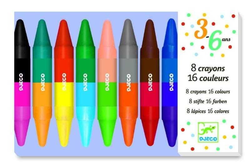 Set 8 creioane duble cu 16 culori Djeco