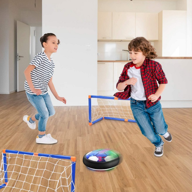 Set fotbal cu porti minge si minge rotativa Hover Ball