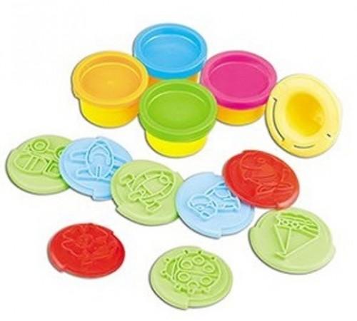 Set stampile cu 4 recipiente plastilina colorata