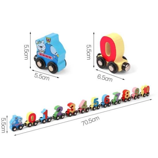 Tren magnetic din lemn numeric Jucarie cu Cifre de la 0 la 10