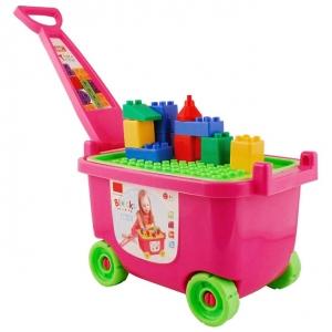 Troller cu cuburi constructie Carucior cu capac 53 piese