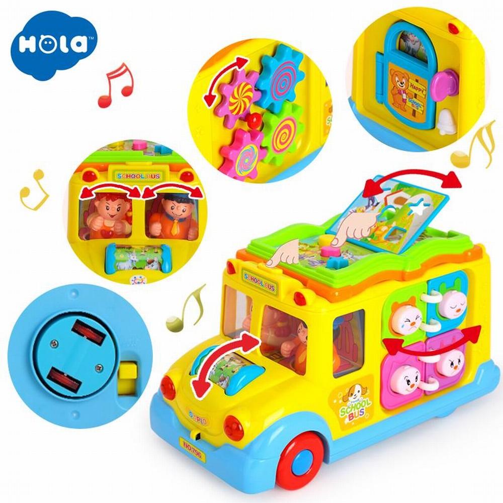 Jucarie interactiva bebe Autobuzul scolar lumini si sunete Hola
