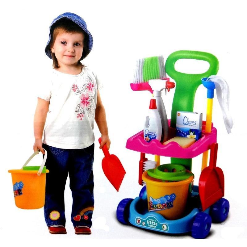 Carucior pentru curatenie Troler cu accesorii copii 10 pcs
