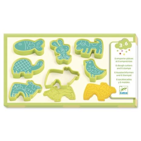 Forme pentru plastilina cu animale si stampile Djeco