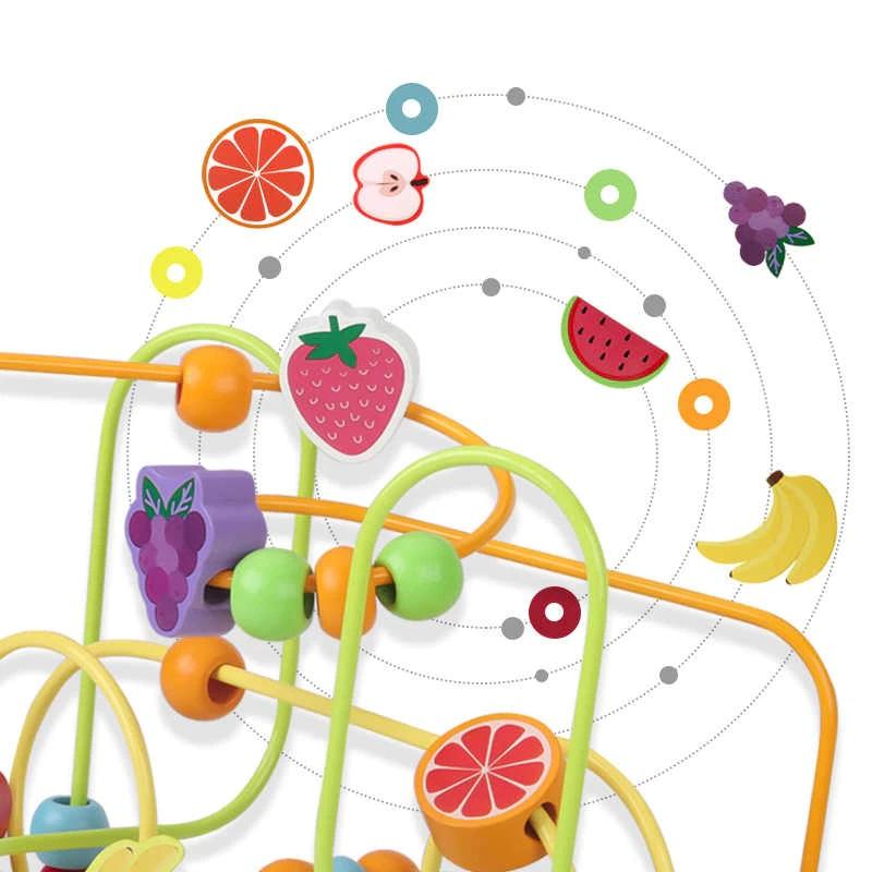 Labirint Jucarie Montessori cu Abac si Fructe colorate 3D