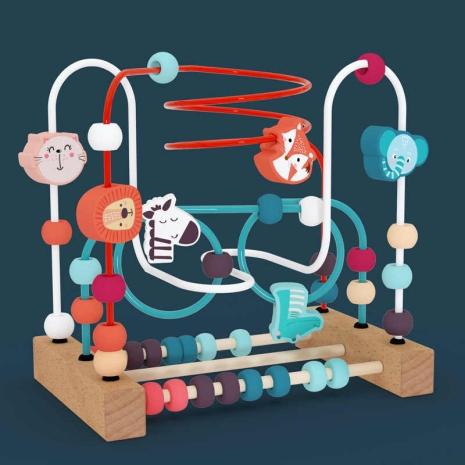 Labirint Jucarie Montessori cu animale si Abac Circuit Circles