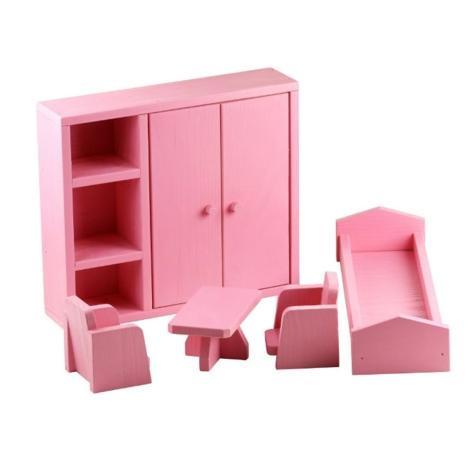 Mobilier de jucarie Dormitor pentru papusi Roz