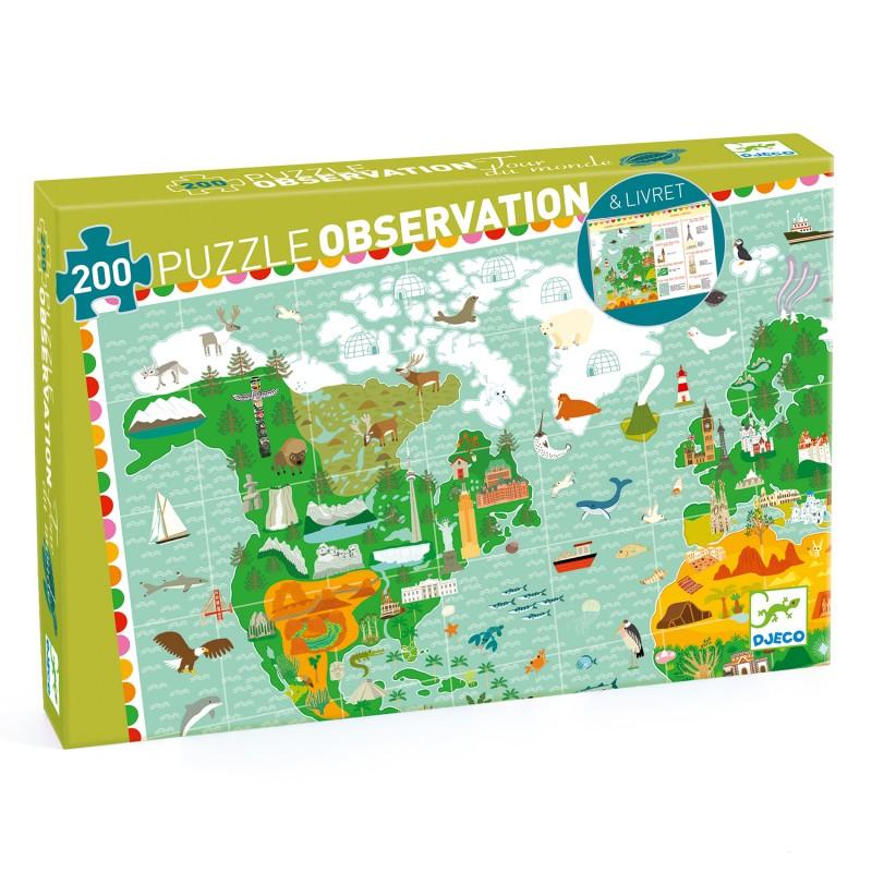 Puzzle Harta Pamantului cu 200 pcs Djeco