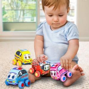 Set 4 jucarii moi Masinute de tras Vehicule copii