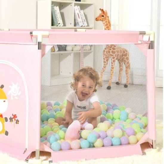 Tarc de joaca metalic pentru bebe Animalute cu 50 bile