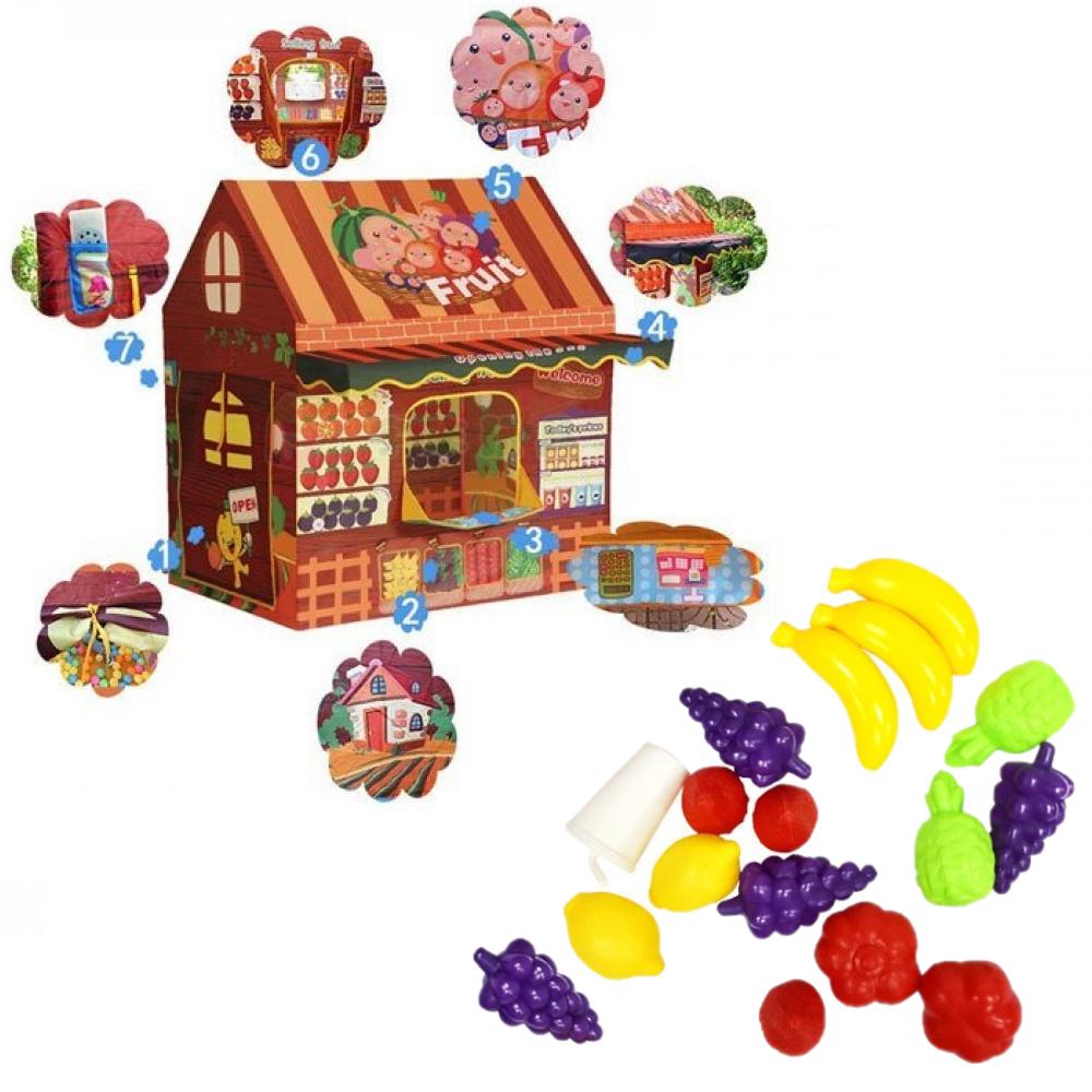 Cort de joaca cu fructe Magazinul de cumparaturi Casuta