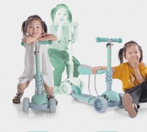 Trotineta cu lumini si scaun pentru copii 3 in 1 reglabila