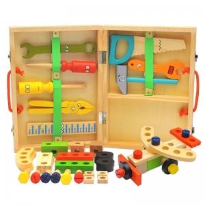 Trusa cu scule din lemn Jucarie Montessori cu instrumente
