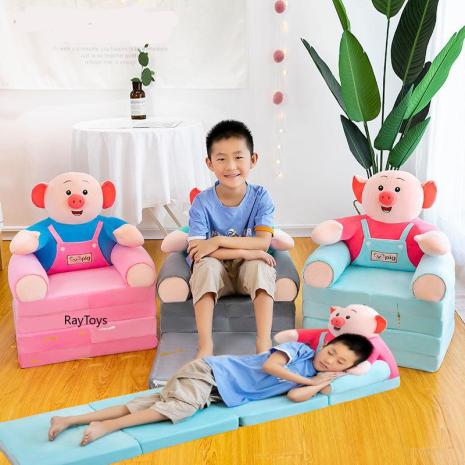 Fotoliu extensibil Porcusorul cu 4 placi Scaun dublu copii