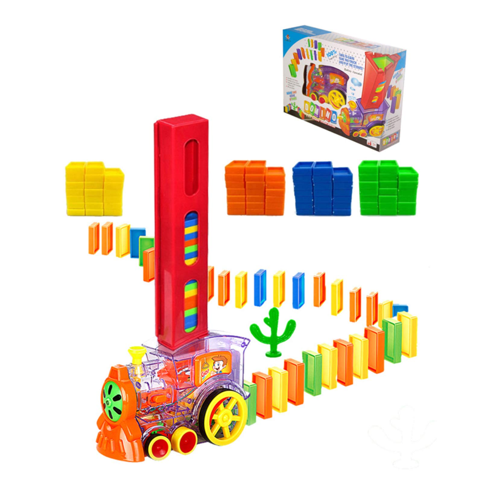 Jucarie de construit Trenul electric transparent Domino colorat