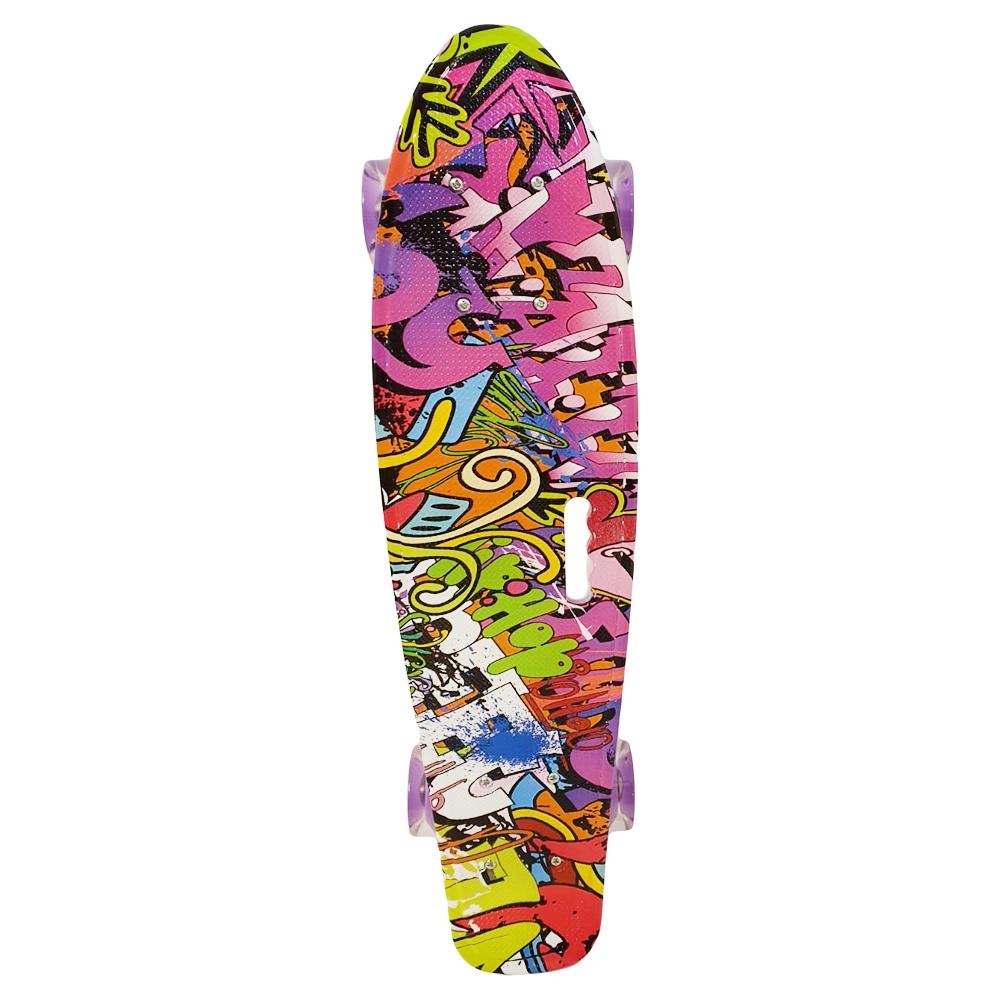 Penny board cu roti luminoase colorate din silicon Graphic 3003