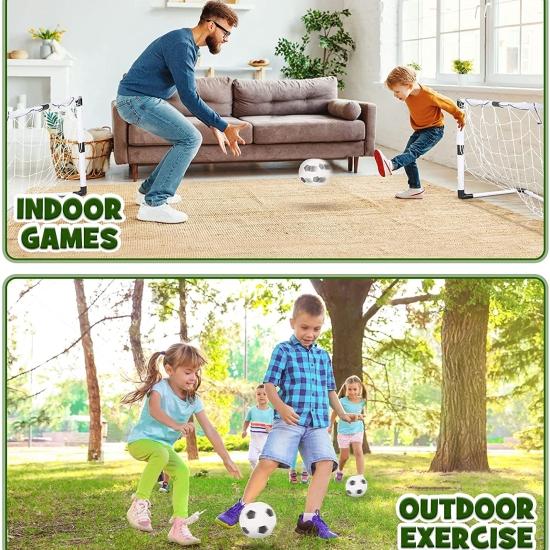 Set 2 Porti de fotbal cu plasa pompa si minge sport copii