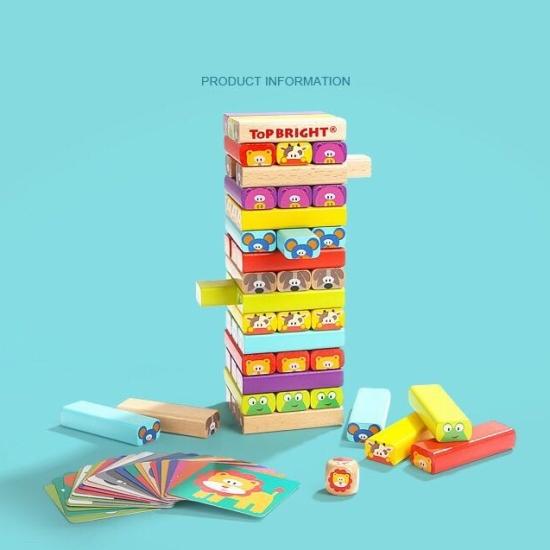 Turnul Jenga Colorat Stivuire blocuri cu animale Topbright2