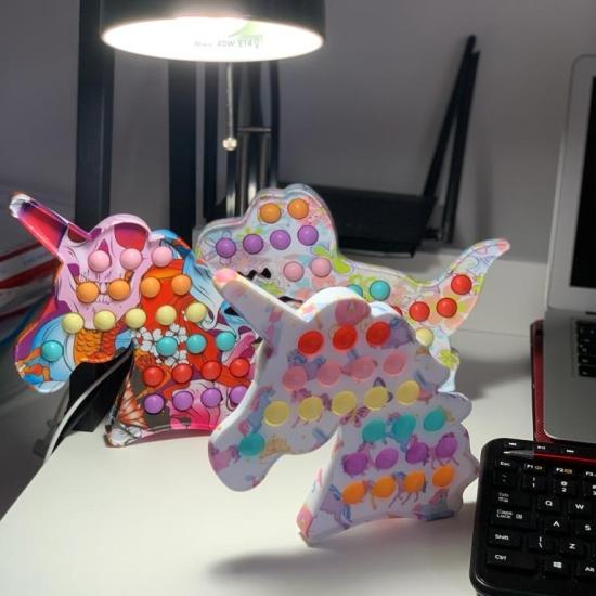 Unicorn Pop It cu bule din silicon Jucarie antistres copii