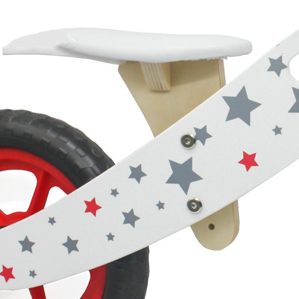 Bicicleta fara pedale din lemn cu cosulet si roti mari
