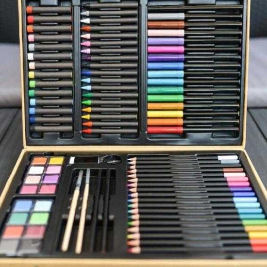 Cutie Jumbo cu culori carioci acuarele pensule Djeco